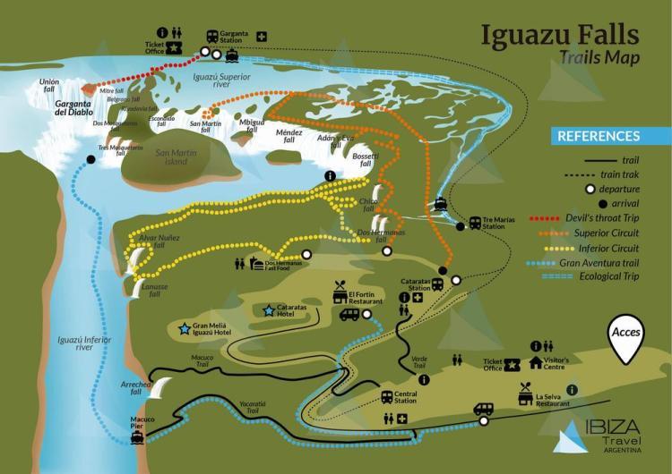 национальный парк игуасу карта трейлов