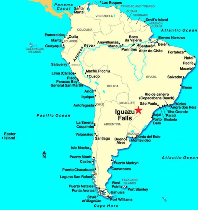 водопады игуасу на карте