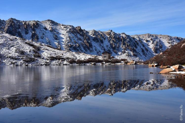 отражение гор в воде, барилоче