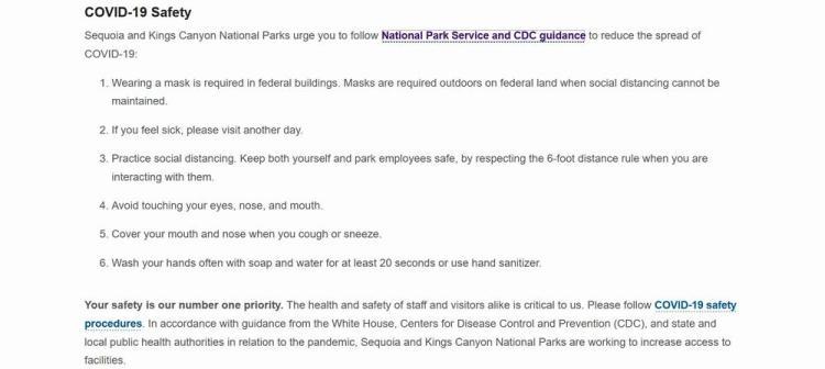 новые правила посещения национальных парков сша covid секвойя