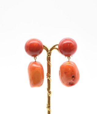 boucles d'oreilles pierres rouges