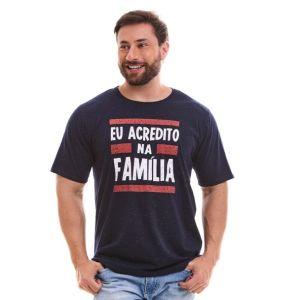 Camiseta Eu acredito na Família MS9038 Azul Marinho P
