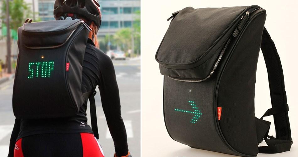 Mochila permite que ciclistas sinalizem manobras no trânsito