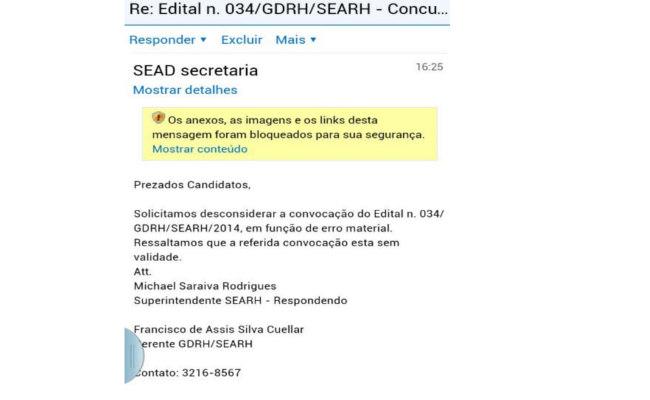 Governo cancela convocação de aprovados em concurso público por e-mail