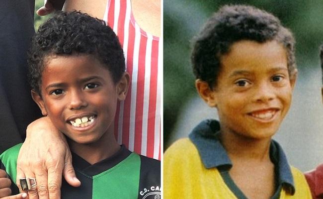 Mini-sósia de Ronaldinho tenta brilhar em Barcelona e sonha com o Timão