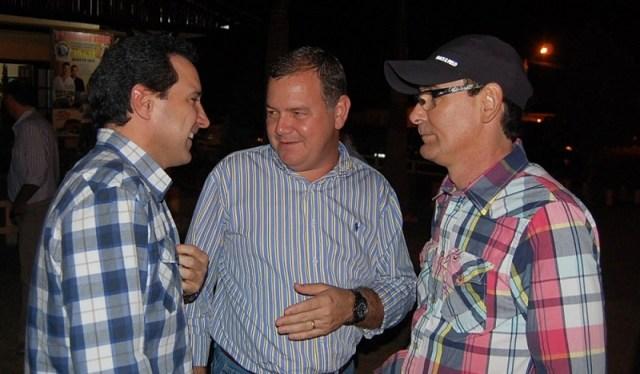 Ex-deputado Natan Donadon (esq), Lúcio Mosquini (centro) e Alex Testoni