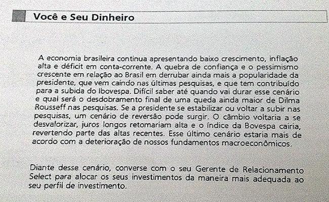 Sucesso de Dilma deteriora economia, diz Santander a clientes ricos