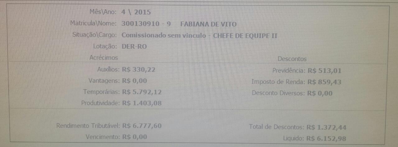 Contra-cheque de Fabiana de Vito
