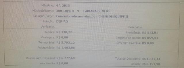 Contracheque de Fabiana mostra seus rendimentos em abril deste ano