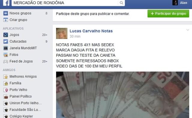 Postagem no grupo Mercadão de Rondônia