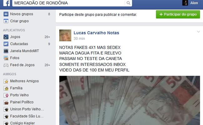 Homem oferece notas falsas para vender no Facebook