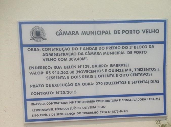 Câmara de Porto Velho passa por terceira reforma