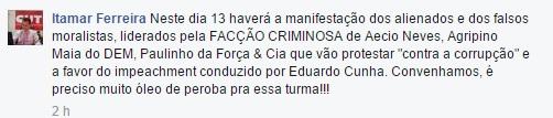 Postagem feita pelo presidente da CUT/RO