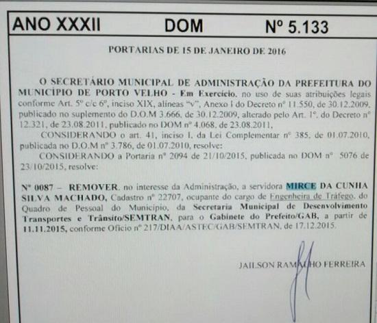 Transferência para o gabinete do prefeito