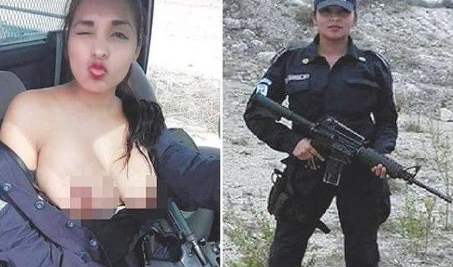 Policial mostra os seios em viatura e foto viraliza nas redes sociais
