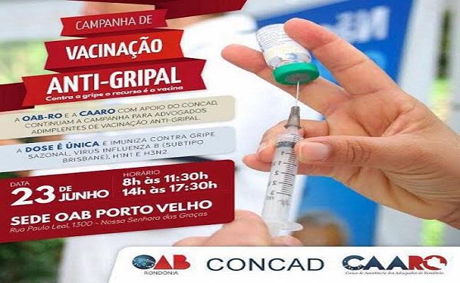 Advogados de Porto Velho têm vacinação contra gripe H1N1 na próxima quinta (23)
