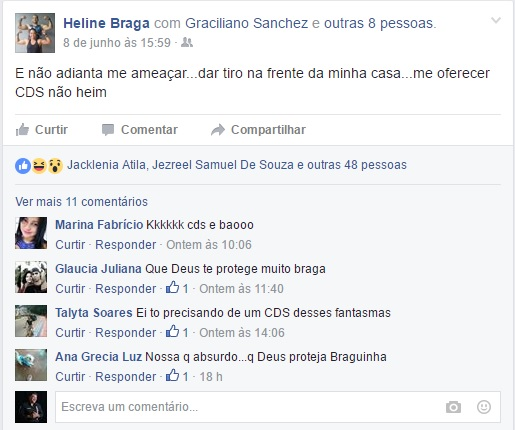 Declarações de Heline Braga viraram boletim de ocorrência na Polícia Civil