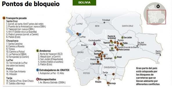 Infográfico produzido pelo jornal El Deber