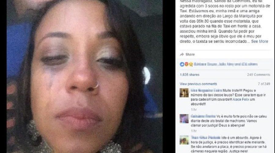 Cantora diz ter levado socos de taxista após reclamar de assédio