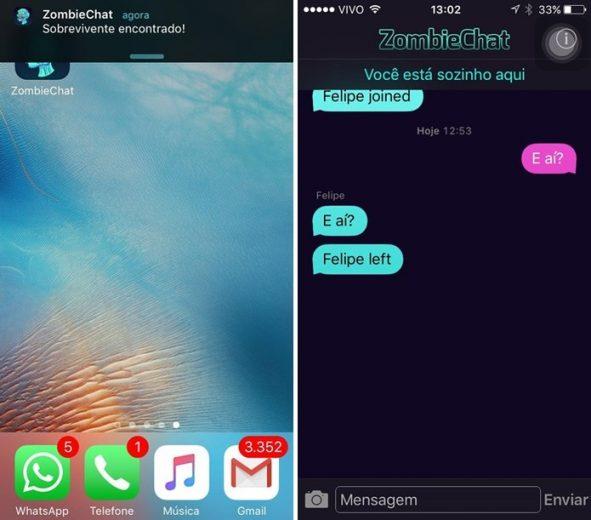 ZombieChat mensageiro permite mandar mensagem offline