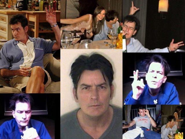 Charlie Sheen tem uma vida de excessos