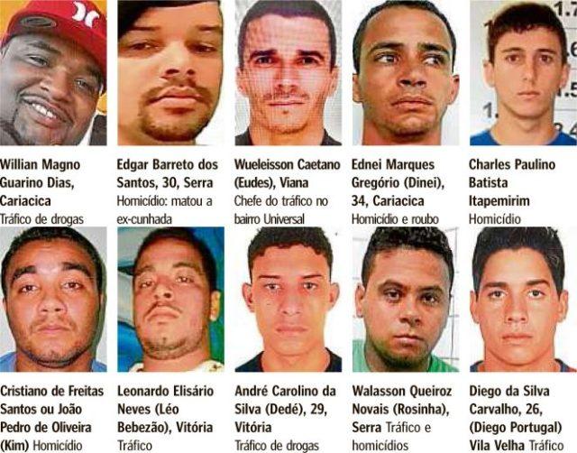 Criminosos da lista dos mais procurados do Espírito Santo (Foto: Divulgação/ Sesp)