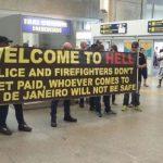 Policiais e bombeiros realizam protesto no aeroporto