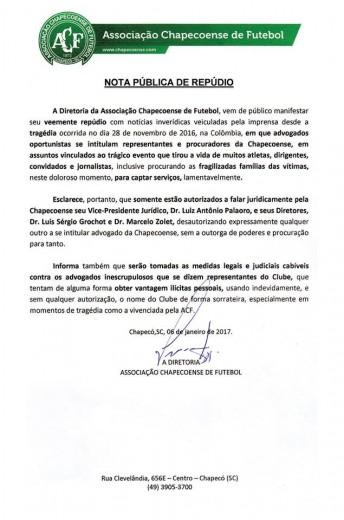 Chapecoense denuncia advogados que procuram famílias das vítimas como representantes do clube
