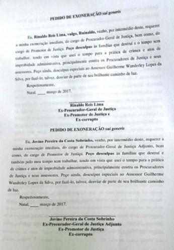 Atirador Guilherme Lopes preparou pedido de exoneração para que vítimas assinassem (Foto: Divulgação/MPRN)