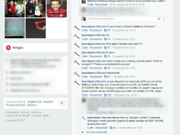 Perfil identificado como 'Ingestigador Marcelo'; avisou sobre a morte no Facebook
