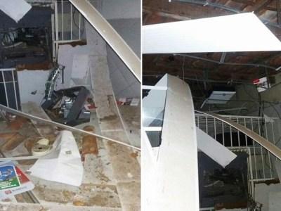 Quadrilha explode caixa de banco e metralha carro da PM em cidade da Grande Natal