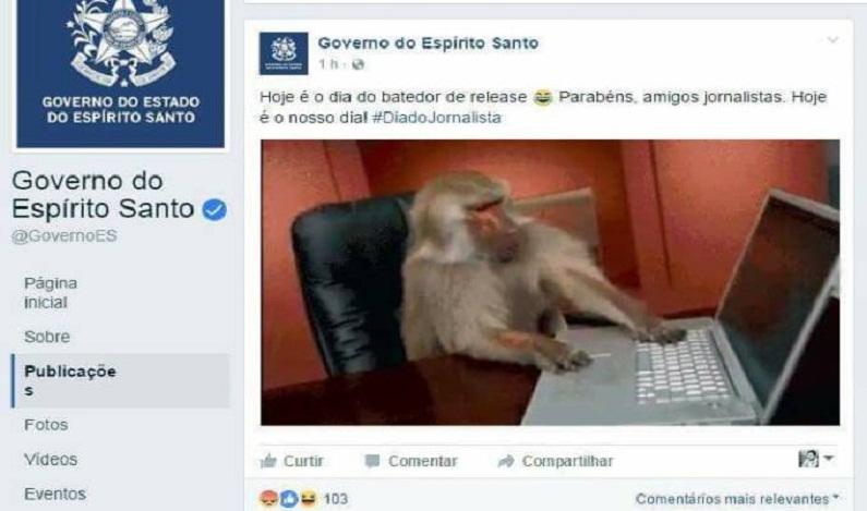 Em homenagem, governo do ES usa macaco para retratar jornalistas