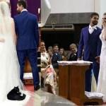 "Gato preto ""invade"" casamento, se deita no vestido da noiva e viraliza na internet"