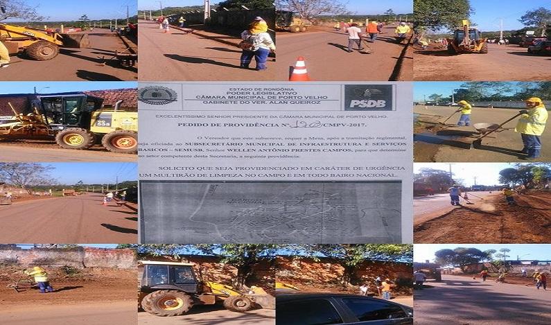Prefeitura atende Alan Queiroz  e promove recuperação e limpeza do Bairro Nacional