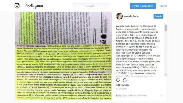 Pâmela Bório divulgou nas redes sociais um boletim de ocorrência sobre celular hackeado