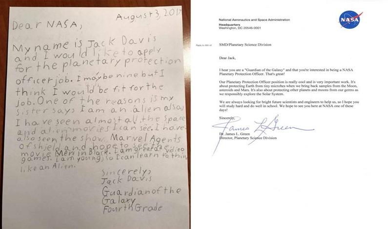 Garoto de 9 anos se candidata à vaga da Nasa de 'protetor da Terra' e recebe resposta