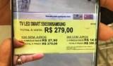 Etiqueta com preço de smart TV por R$ 279 causa confusão