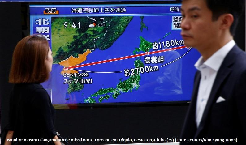 Coreia do Norte alega direito à autodefesa após teste com míssil sobre o Japão