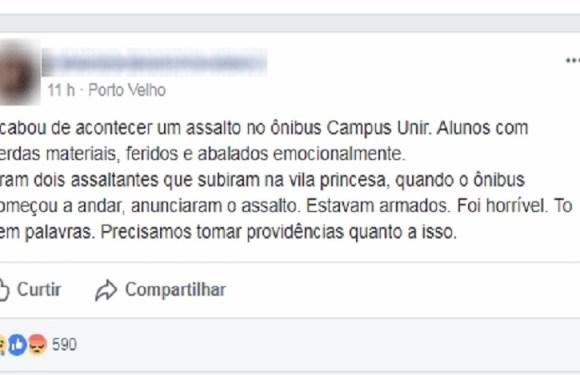 Bandidos invadem ônibus, agridem e assaltam estudantes da Unir, em RO