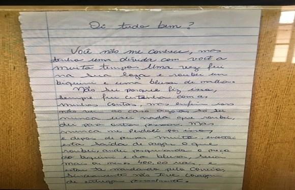 Em carta anônima, mulher pede perdão por furto e devolve R$ 400 a comerciante em MS