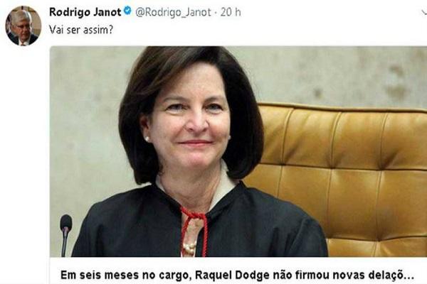 No Twitter, Janot questiona Raquel Dodge por seis meses sem novas delações