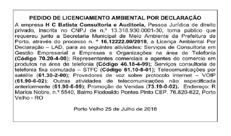 Pedido de Licenciamento Ambiental por declaração