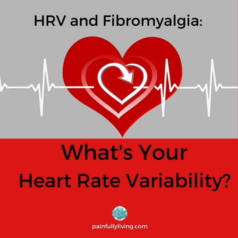 Grey background on top 1/2 with red heart and white EKG lines going through. Title font in black: HRV and Fibromyalgia: What's Your Heart Rate VAriability