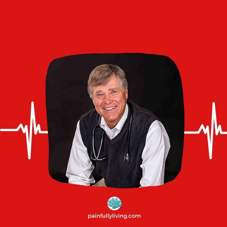 Red Background with white EKG lines going through the center.  A photo of Dr. Pete Lillydahl is placed center; he's smiling wearing a white shirt and blue sweater vest and stethoscope