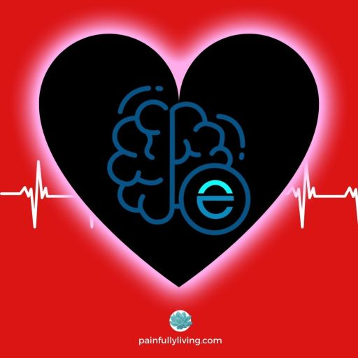 Red background with heart frame in the center, featuring the Easeday Migraine app logo