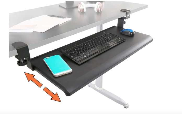 Under desk mounted keyboard/mouse tray for carpal tunnel