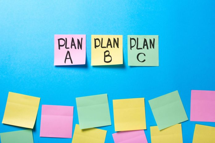 sticky notes with 3 different plans