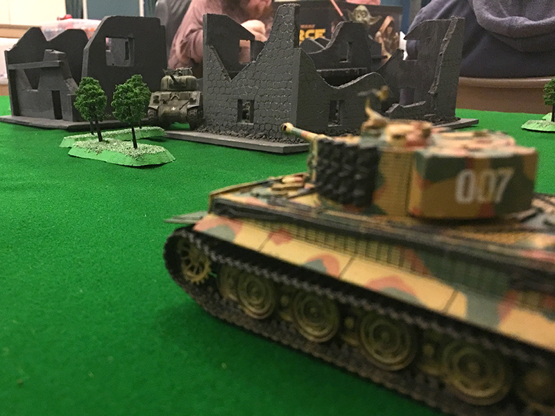 The Sherman bravely takes on the Tiger
