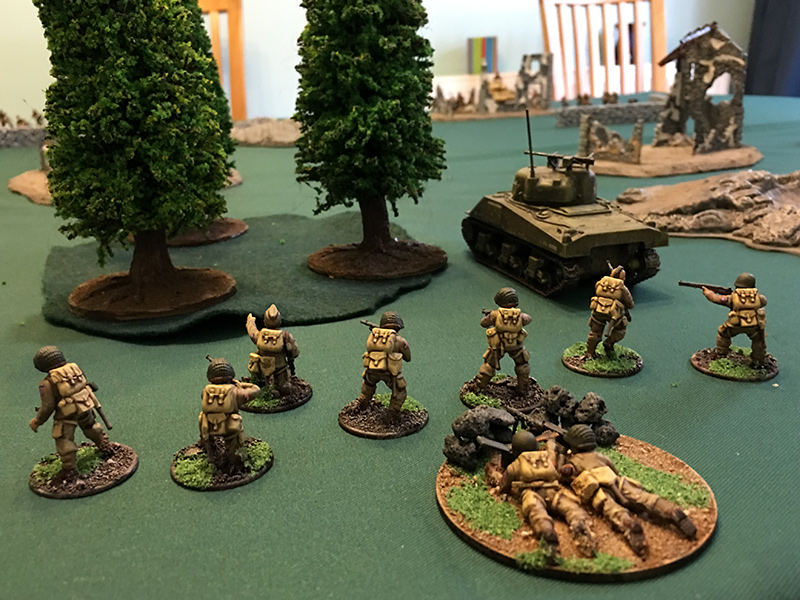 The First Airborne Squad advances towards the wood