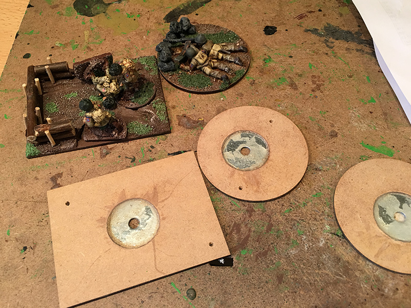 Gluing washers to the larger bases